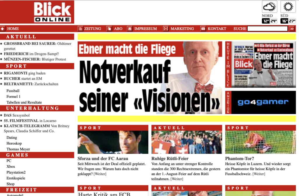 Screenshot der Blick-Website von 2002